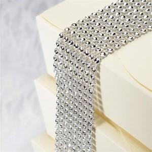 Diamantband 8 Reihen 1,5m Silber