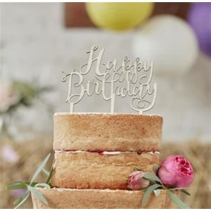 CAKE TOPPER HOLZ HAPPY BIRTHDAY