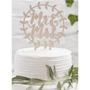 CAKE TOPPER HOLZ VINE MR&MRS
