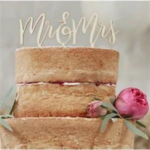 CAKE TOPPER HOLZ MR&MRS