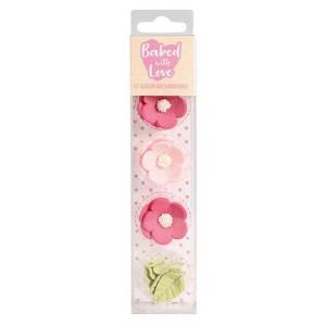 BwL Zuckerdekor Blumen&Blätter Pink/Rot 12Stück