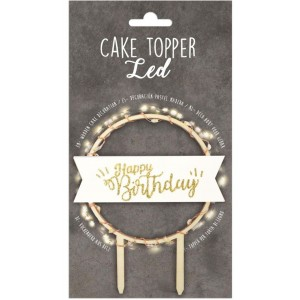 Cake Topper Holz LED Licht Happy Birthday