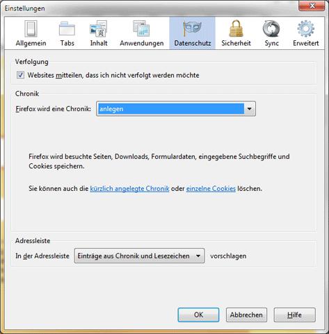 Firefox Einstellungen, Datenschutz Einstellungen um eine Chronik anzulegen